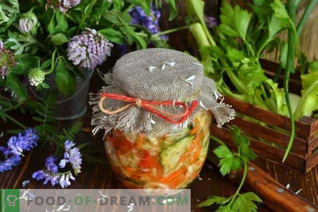 Salade de choux pour l'hiver avec concombres et tomates