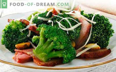 Brokkolisalat - fünf beste Rezepte. Wie man richtig und lecker gekochter Brokkolisalat kocht.