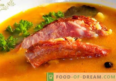 Soupe au porc - les meilleures recettes. Comment bien et savoureux faire cuire la soupe dans le bouillon de porc.