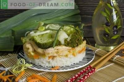 Stroganoff au bœuf avec poireaux, riz, brocoli et chou-fleur