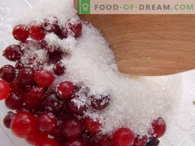 canneberges, râpées avec du sucre