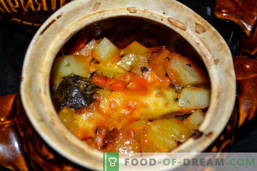 Roast in pots - potatoes with mushrooms and smoked sausage, delicious recipe for guests