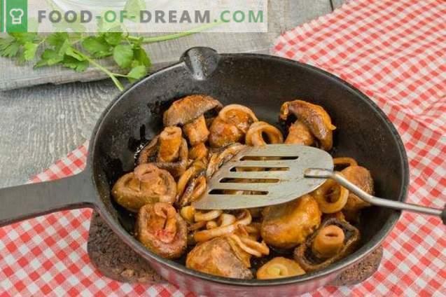 Fèves à la sauce aux champignons