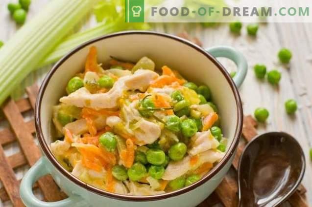 Fricassée de poulet aux petits pois - Ragoût de légumes en français