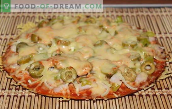 Une recette de pizza sans levure est intéressante! De nombreuses recettes pour faire des pizzas sur une pâte sans levure - choisissez!
