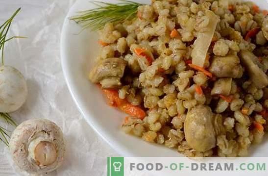 Orzo con funghi in un multicooker: un piatto di lenticchie. Veloce e molto semplice: una ricetta fotografica per fare l'orzo con i funghi
