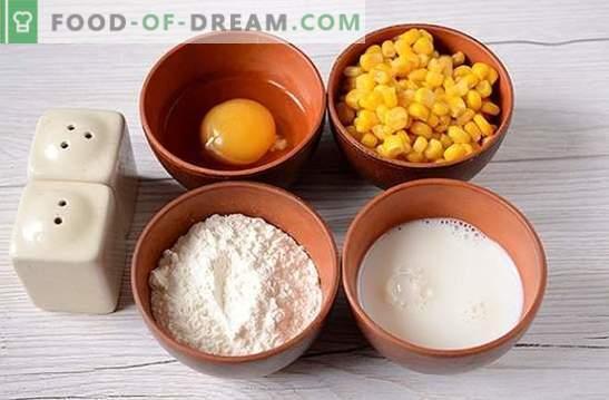Beignets au maïs: utilisez du maïs en conserve provenant de canettes! Recette photo étape par étape de l'auteur pour des crêpes avec du maïs sur kéfir