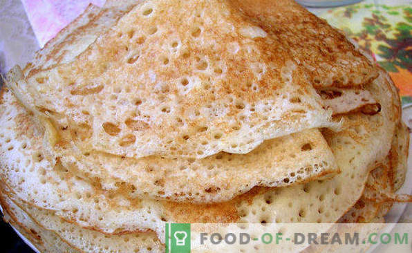 Pancakes on sour milk, recipes thick, thin, openwork, lush