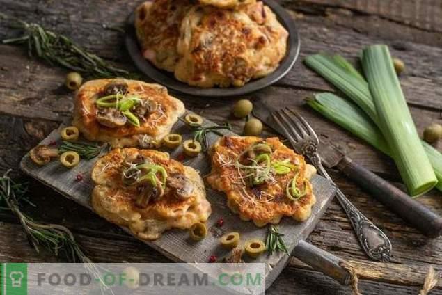 Pizza aux beignets et au kéfir - nourrissante et rapide