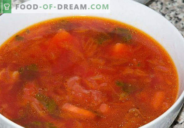 Borsch from sauerkraut, recipes with and without meat, with beets, mushrooms, beans