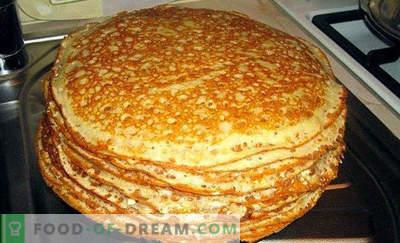 Pâte à crêpes sur kéfir, recettes au lait, sans oeufs, levure à l'eau bouillante