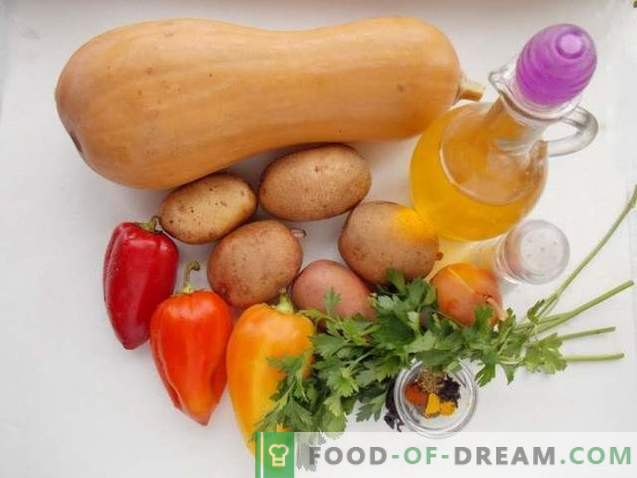 Pommes de terre au four avec potiron et légumes