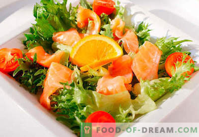 Salade au saumon - une sélection des meilleures recettes. Comment faire correctement et délicieusement une salade avec du saumon.