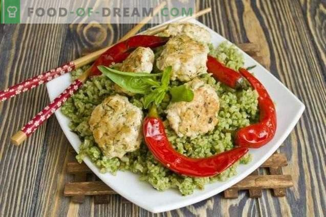 Groene rijst met gehaktballen