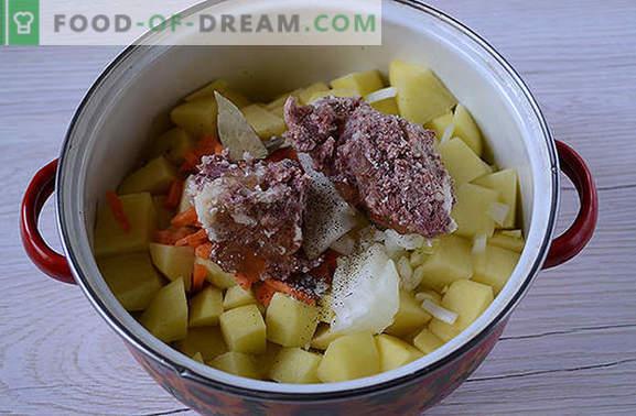 La recette classique des pommes de terre avec de la viande en conserve: le goût de la cuisine du pays des Soviets. Comment faire cuire des pommes de terre banales avec un ragoût délicieux: une recette étape par étape avec des photos