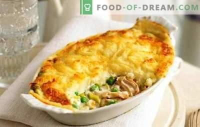 Frango com batatas e queijo, tomates, cogumelos, berinjelas. Como cozinhar frango com batatas e queijo no forno e multicozinha