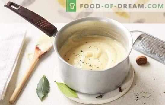 Comment faire cuire la béchamel à la maison? Variantes de sauce béchamel à la maison: avec des oignons, de la viande, du fromage et des champignons