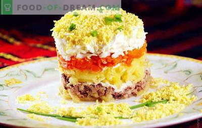 Mimosa salad with cod liver is a familiar snack in a new format. Recipes salad
