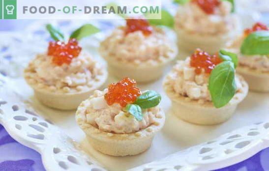 Les tartelettes au foie de morue constituent un en-cas pratique. Recettes de tartelettes au foie de morue: avec légumes, champignons, caviar
