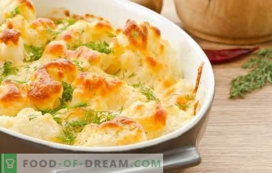 Cavolfiore con uova al forno - i segreti del cibo delizioso. Casseruole di cavolfiore con uova e formaggio in forno per la vita di tutti i giorni e le vacanze