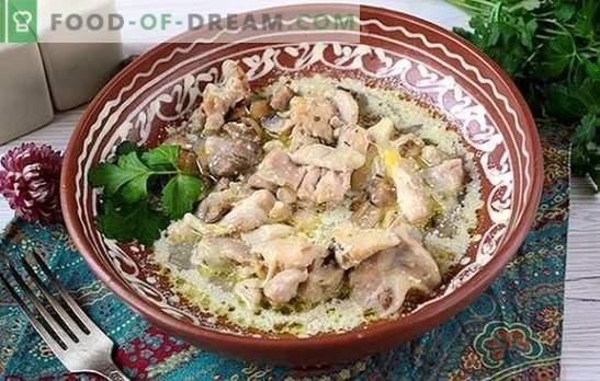 Frango Estufado com Cogumelos: Cozinhe as coxas perfumadas para o feriado e todos os dias. A receita passo a passo do autor para cozinhar frango com cogumelos em creme azedo
