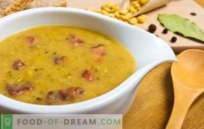 Soupe aux pois et à la saucisse: version économique d'un premier plat copieux. Recettes de soupe aux pois avec saucisse: bouillie et fumée