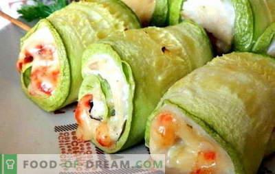 Poitrine avec courgette - saine et savoureuse. 7 des meilleures recettes de poitrine aux courgettes: au fromage, crème sure, crème, aux champignons