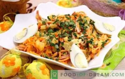 Une excellente base pour la salade est la carotte coréenne à la saucisse. Salades de carottes coréennes avec saucisses et autres ingrédients