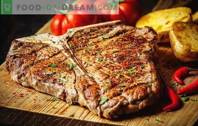 Comment faire frire un steak pour le rendre parfait. Combien faire frire dans une casserole, un grill ou des braises, des cornichons et des sauces