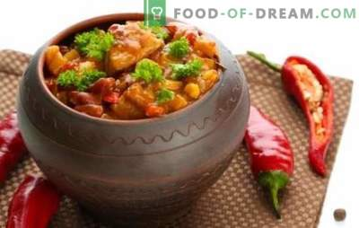 Les Chanahs en pots - nous visiterons la Géorgie! Recettes pour un plat de chanakhi parfumé dans des pots avec du poulet, de la viande, des haricots, des aubergines