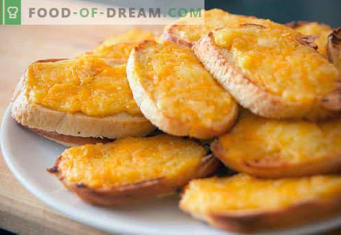 Крутони със сирене - най-добрите рецепти. Как да правилно и вкусно варени крутони със сирене.