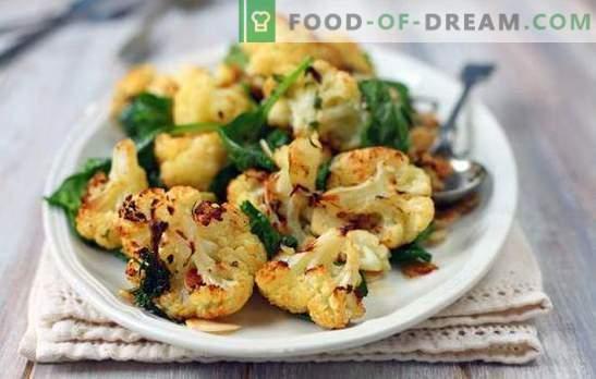Ce qui peut être cuit rapidement et savoureusement à partir de chou-fleur est le plat principal et le deuxième plat, l'accompagnement et l'apéritif. Plats simples de chou-fleur