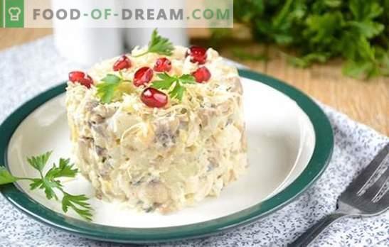 Salade aux champignons et au poulet: un apéritif et un plat principal complet. Photo-recette pas à pas pour une salade consistante de filet de poulet, champignons et fromage