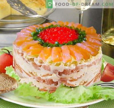 Salade tsar au saumon - les bonnes recettes. Cuire rapidement et savourer salade royale au saumon.
