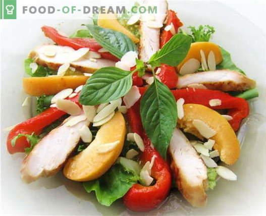 Salade de poivrons bulgares au poulet - les meilleures recettes. Comment bien et savoureux préparer une salade avec des poivrons et du poulet.