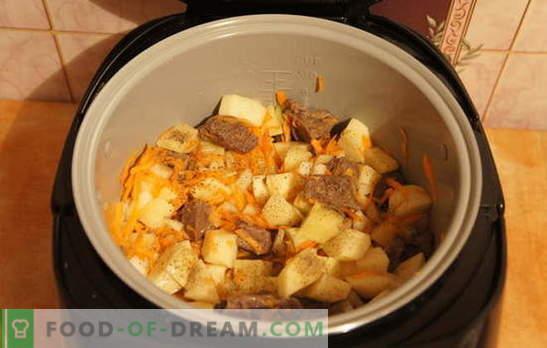 Pommes de terre cuites à la viande dans la mijoteuse: reposez-vous! Recettes pour compote de pommes de terre avec de la viande dans une mijoteuse: simple et complexe