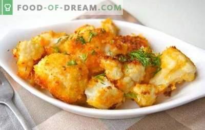 Comment faire frire le chou-fleur (frais, congelé) est délicieux. Recettes pour le chou-fleur frit dans la chapelure, la pâte, dans l'oeuf, avec des légumes