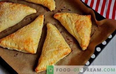 Feuilletés au fromage cottage: sucrés, salés, au four et dans une poêle. Recettes pour différentes pâtisseries feuilletées avec du fromage cottage