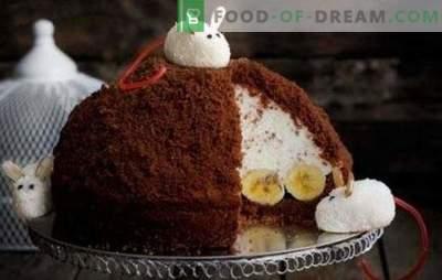 """Divers gâteaux «Mink Mole» avec soufflé ou crèmes au fromage cottage. Gâteau à la banane original - """"Taupe de vison"""""""