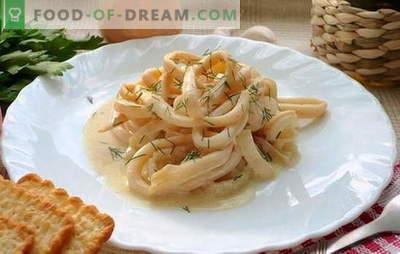 Les calmars à la crème sure sont un plat de palourde juteux. Recettes de calamars à la crème sure avec légumes, fromage, champignons, ail, tomate