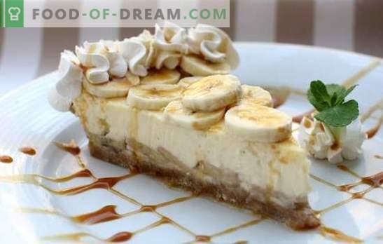 Cheesecake à la banane - Dessert Royal! Recettes de vrai gâteau au fromage à la banane à partir de fromage et de fromage cottage: avec cuisson et sans cuisson