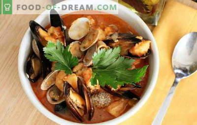 Soupe de fruits de mer: moules, crevettes, calamars, poulpes. Recettes pour cuisiner des soupes aux fruits de mer pour tous les goûts