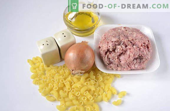 Une technologie très simple de cuisson des pâtes de manière navale avec du porc émincé. La recette classique pas à pas avec la photo: des pâtes à la façon d'une flotte