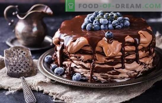Gâteau aux crêpes au chocolat - un régal de la poêle! Recettes simples et festives gâteaux au pancake au chocolat avec différentes crèmes
