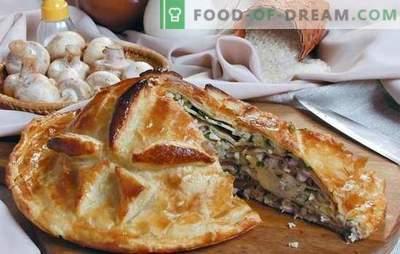 Le Kurnik avec du riz est un gâteau copieux traditionnel. Les meilleures recettes pour le poulet, le riz, les champignons, le fromage