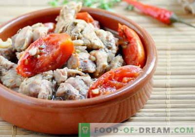 Viande aux tomates - les meilleures recettes. Comment bien cuire la viande avec des tomates.