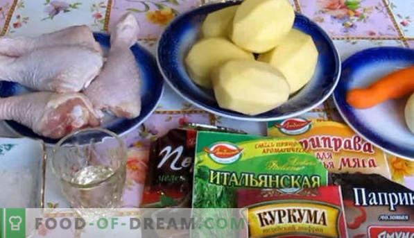 Cuisse de poulet, cuite au four avec des pommes de terre au four, sous une croûte croustillante, dans un fourreau, une feuille, avec du fromage