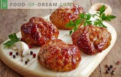 Comment faire cuire des côtelettes moelleuses pour la joie de vos proches? Secrets et recettes de pâtés de viande hachés délicieux et luxuriants: avec légumes, fromage, etc.