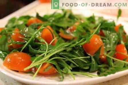 Salade de roquette - les meilleures recettes. Comment bien et savoureux faire cuire une salade avec de la roquette.