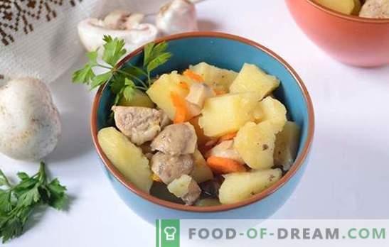 Rôti de porc et de champignons dans une casserole - un homme dira